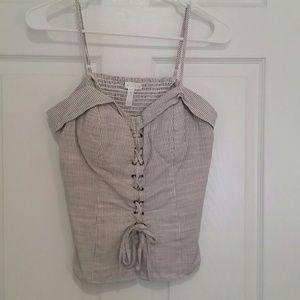 Pin-striped bustier corset top w/spaghetti straps